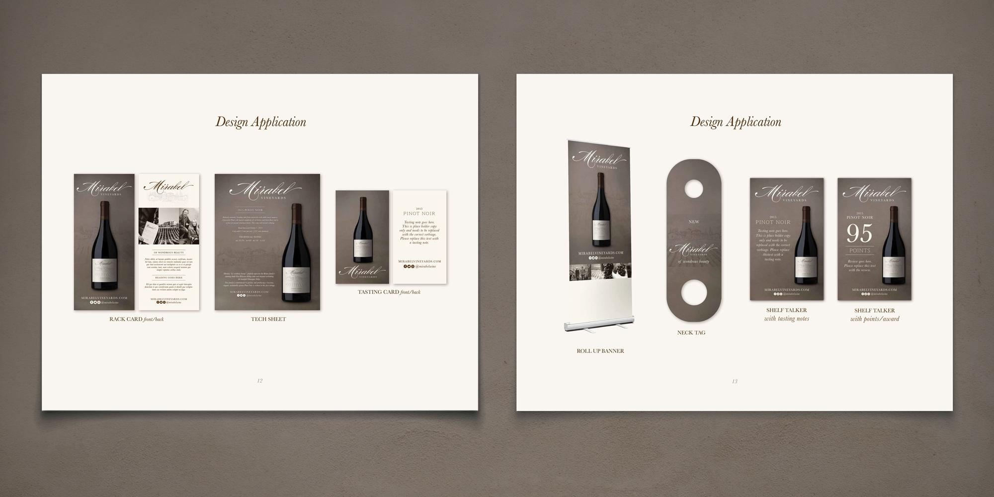 Mirabel Vineyards Branding - design applications