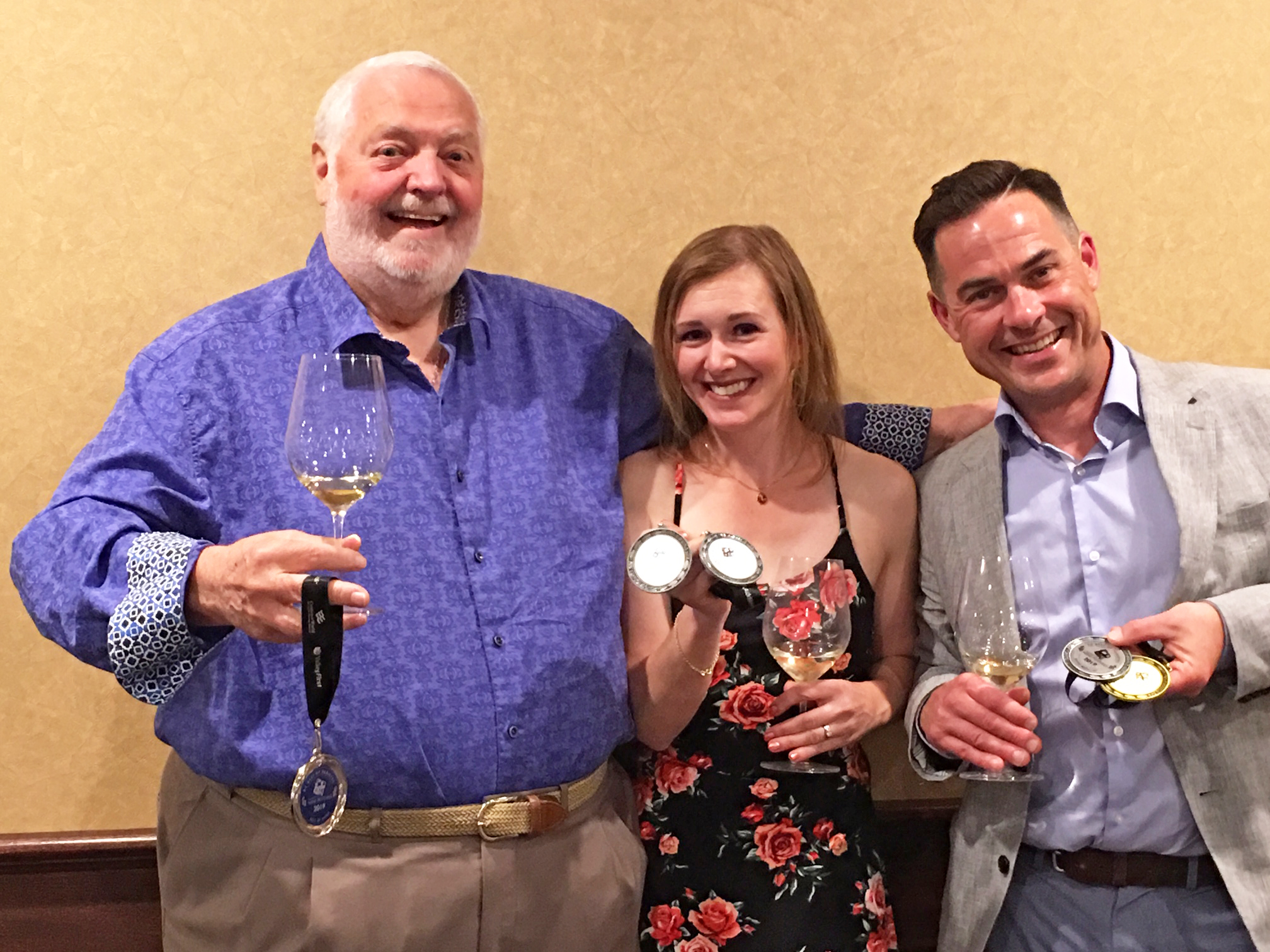 TIME Winery CEO & winemakers Nadine Allander and Graham Pierce celebrate their wins at the BC Best of Varietals Competition.