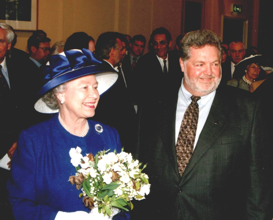 Encore_Harry McWatters with Her Majestry Queen Elizabeth II at Canada House Reopening May 1998 credit Tim Pawsey of Hired Belly.jpeg