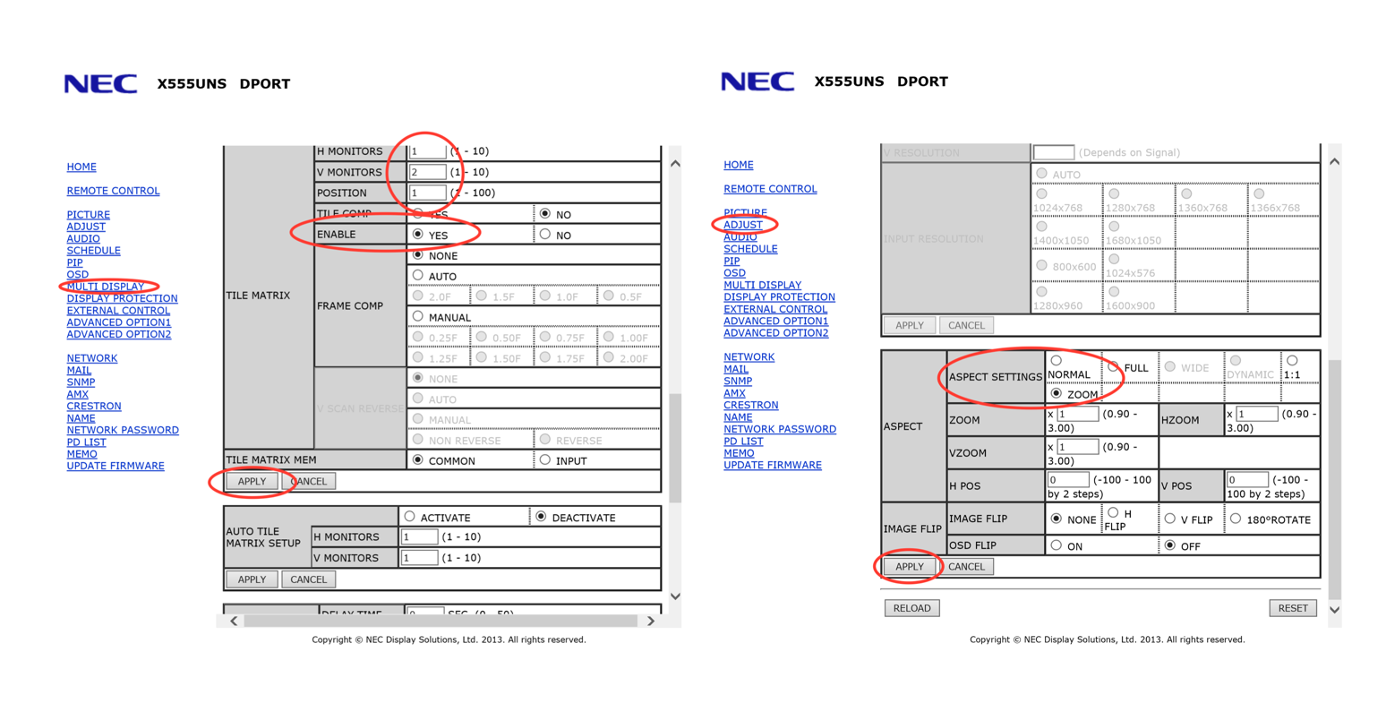 Figure 6: NEC Display Settings