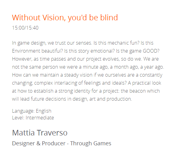 WITHOUT VISION, YOU'D BE BLIND - Codemotion Amsterdam 2017.A talk at Codemotion Amsterdam 2017 about the value of a strong direction.About maintaining a vision for years-long projects and offer practical strategies to maximise communication.I SLEPT TOO LITTLE THAT DAY