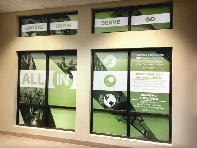 Lobby Cling signage - Vinyl Clings used to promote 14 million dollar fundraising campaign.