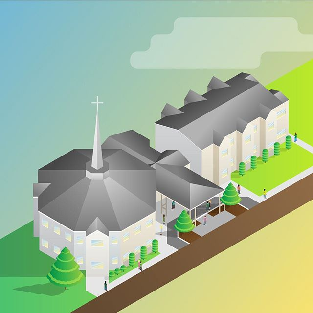 What's the building for anyway? It's all about the people. Regardless, it's fun to throw together an isometric illustration, and on a pretty complicated structure... and make the colors as loud as possible!  #isometric #illustration #graphicdesign