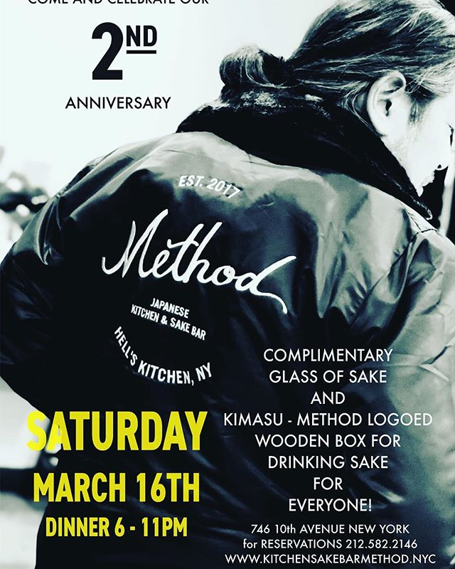 We want to thank you all for supporting Method for the past two years, we wouldn't have been here today without your support and love. we'd like to invite you to our    on Saturday, March 16th from 6pm to 11pm. Please join us to celebrate this remarkable day, we can't wait to see you there :) . . . . from Method team . . . . . . . . . #methodnyc #hellskitchen #nyc #anniversary #anniversaryevent #japan #japanese #japanesefood #Japaneserestaurant #izakaya #sakebar #sake #food #foodie #foodstagram #instafood #foodiegram #buzzfeast #photography #photooftheday