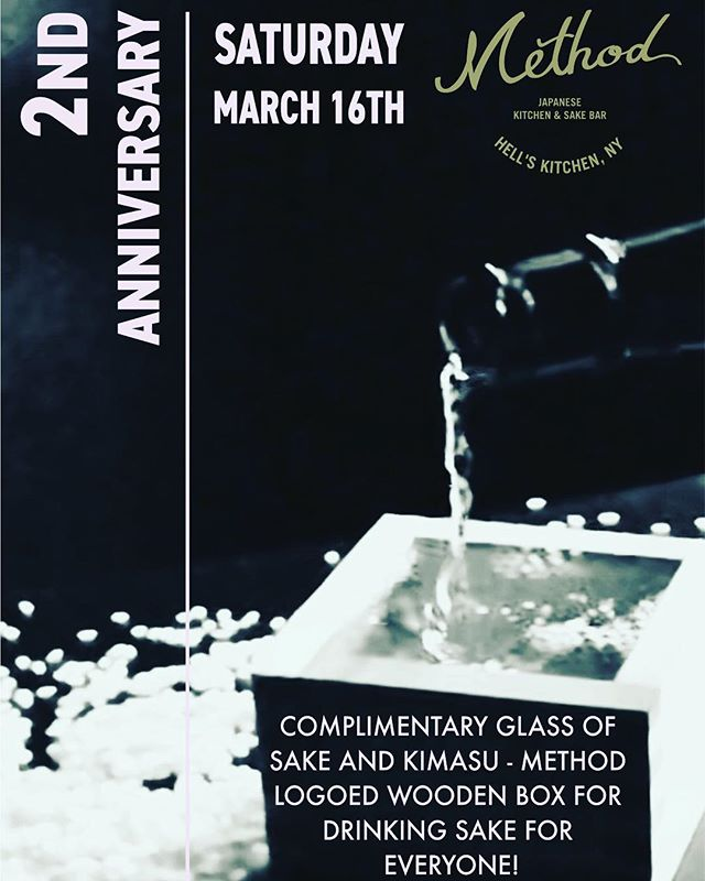 We are grateful to announce that our 2nd anniversary will be on March 16th Saturday 2019. Come join us to celebrate with us! All guests receive complimentary glass of sake and customized method logged kimasu - wooden square cup for drinking sake. For more informations, please contact us (212) 582-2146 Reservations are recommended. . . . . . . . . . #methodnyc #hellskitchen #nyc #anniversary #anniversaryevent #japan #japanese #japanesefood #Japaneserestaurant #izakaya #sakebar #sake #sakeevent #food #foodie #foodstagram #instafood #foodiegram #buzzfeast #photography #photooftheday