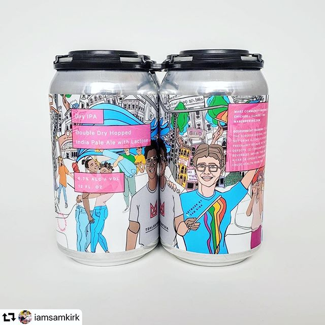 Get yourself some Gay IPA for Pride Month with these special edition @marzbrewing cans by artist Sam Kirk (@iamsamkirk) in colaboration with the @chicago_reader 🍻 All sales will benefit @affinity_cs, @bravespacealliance, and @the_caucus // The can features two legendary female Chicago #LGBTQ activities Vernita Gray and Tracy Baim - look 'em up! // CHEERS ! . . . #pride #pridemonth #gayipa #queer #queerartist #chicagopride #lgbt #rainbowcapitalism #beer #ipa #canart #beertrade #queerbeer