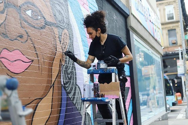@iamsamkirk creating an ode to #VictoriaCruz for @nycpride ~~~ . . . #pride #nycpride #mural #lgbtq #queer #latina #queerartist #latinaartist #chicagoartist #nyc #stonewall50 #coakleypr