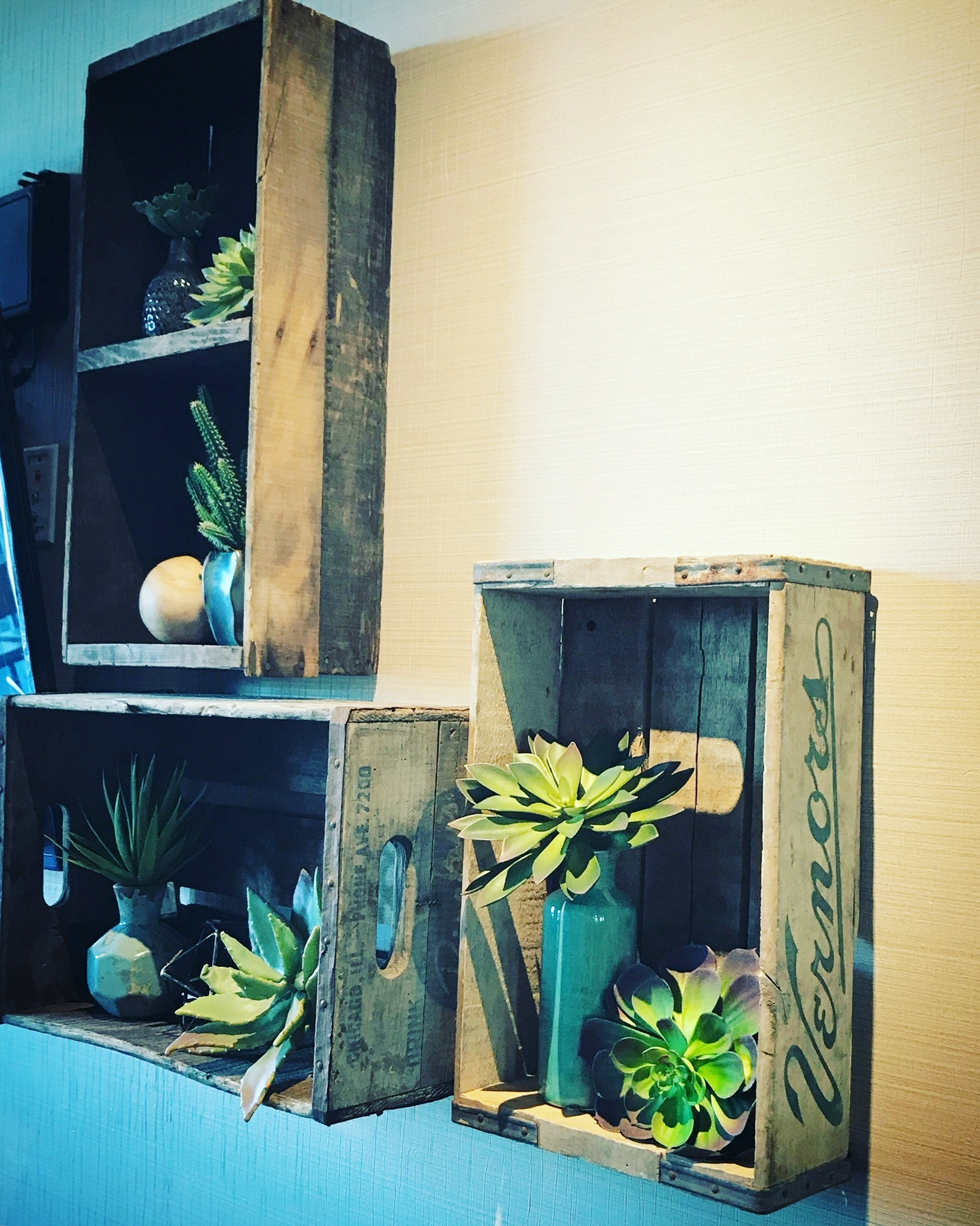tv wall | vintage local crates
