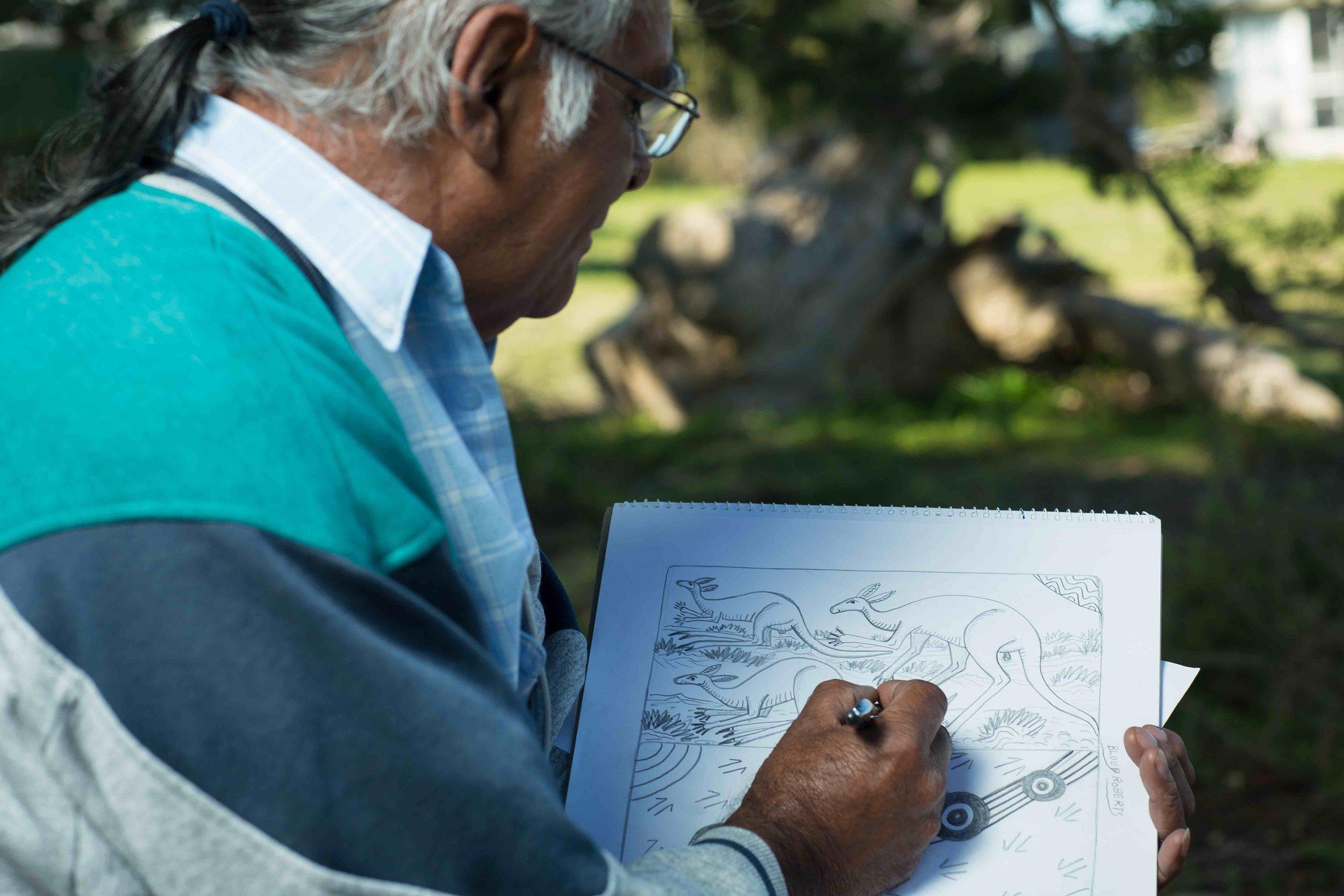Bluey Roberts sketching
