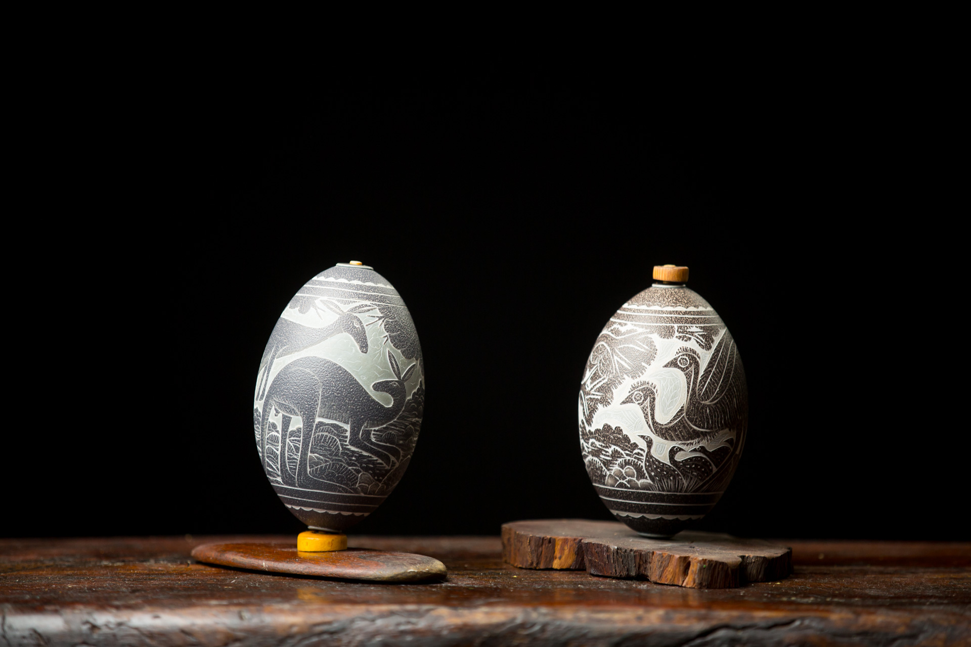 Carved emu eggs