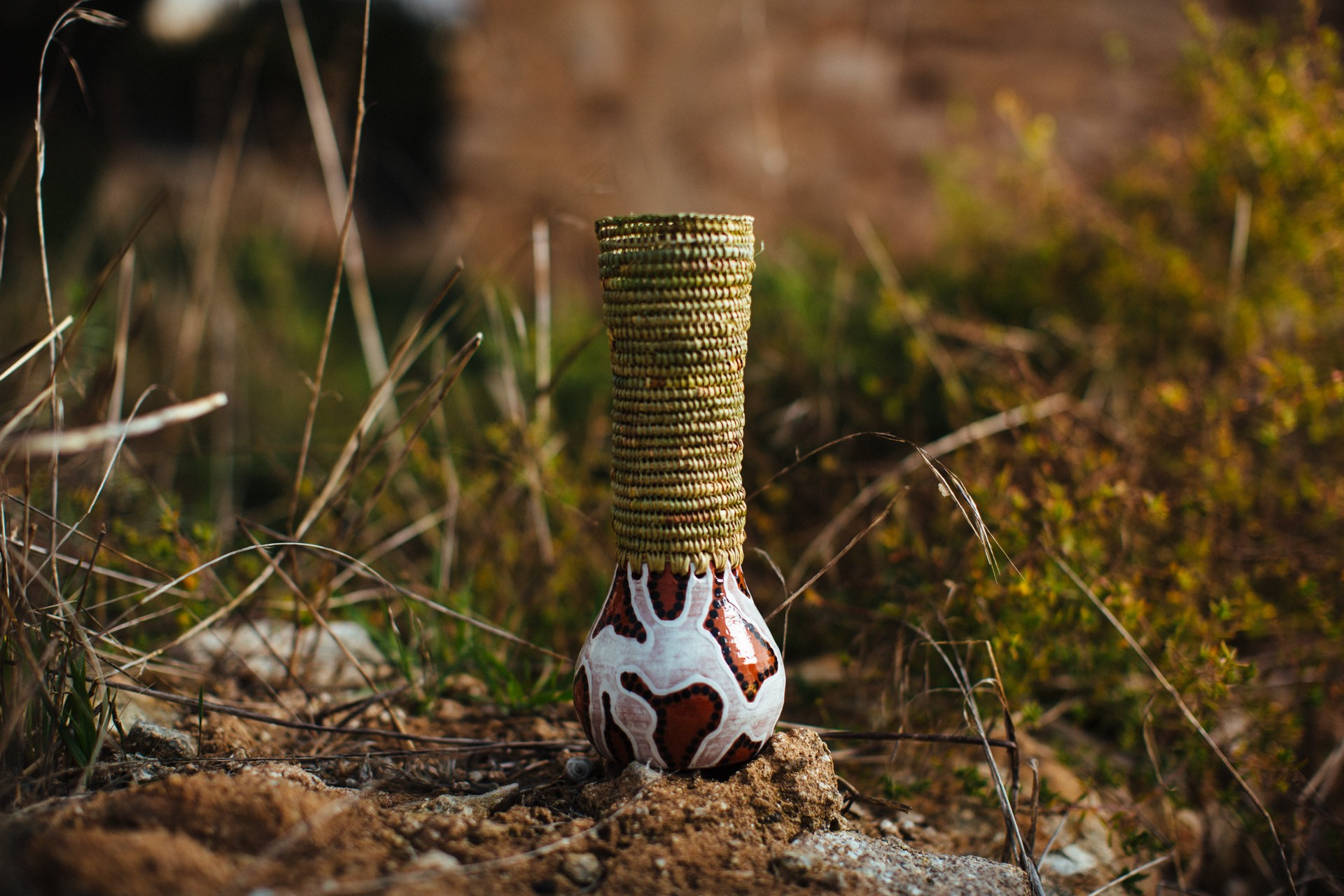 Tall vase with Ngarrindjeri weave