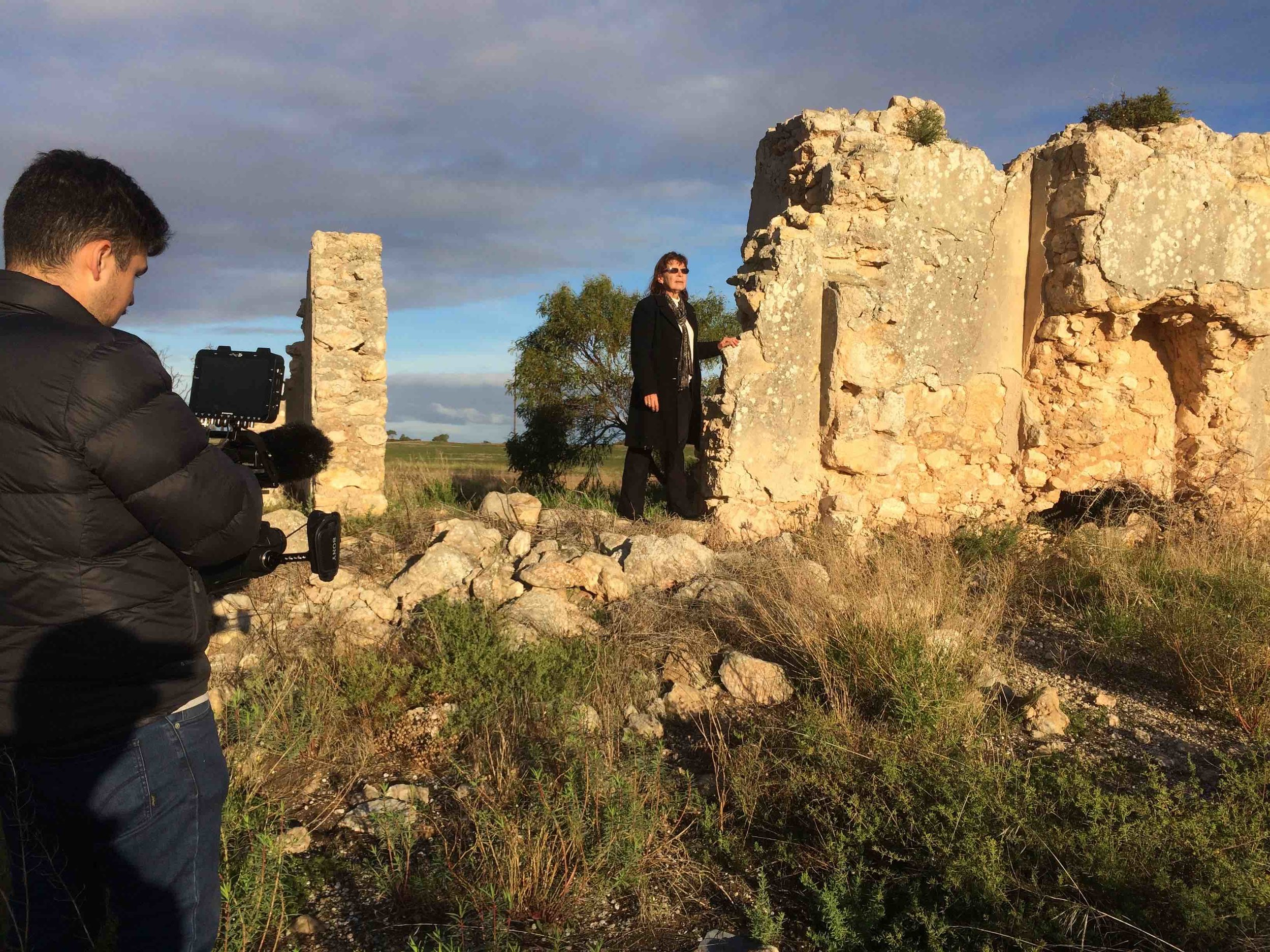 Lyn Lovegrove Niemz at the Murrungung ruins. Photo Carl Kuddell April 2017