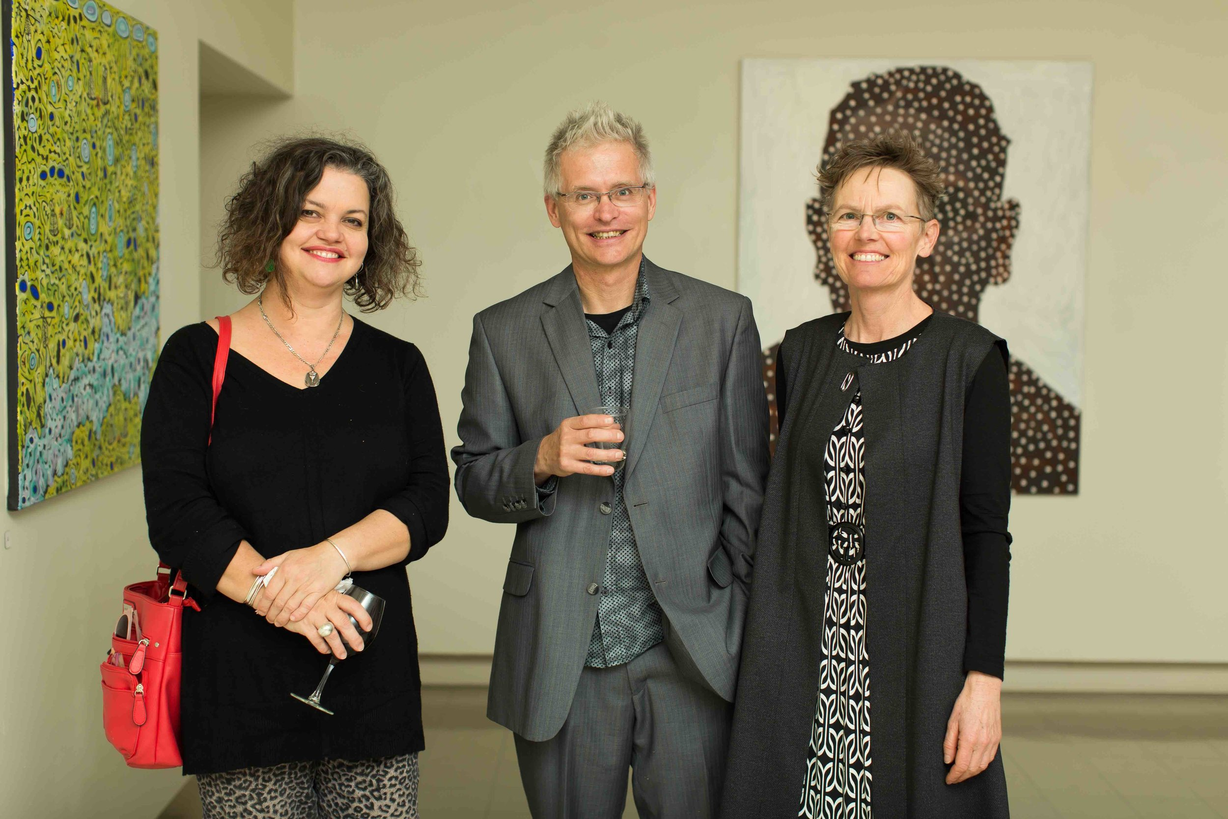 Alexandrina Council's Leah Grace (left), with co-curators Carl Kuddell and Jen Lyons-Reid. Photo Johanis Lyons-Reid / Change Media