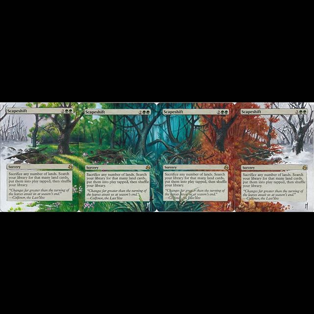Scapeshift full panorama #mtg #mtgalters #magicalters #magicthegathering #scapeshift #seasons #fall #winter #spring #fourseasons #painting #alternateart #alteredcards