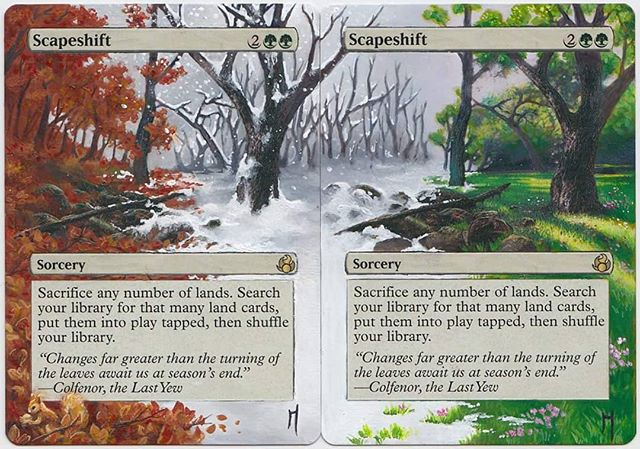 Scapeshift 1&2 #mtg #mtgalters #magicalters #magicthegathering #scapeshift #seasons #fall #winter #spring #fourseasons #painting #alternateart #alteredcards