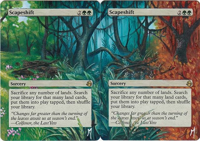 Scapeshift 3&4 #mtg #mtgalters #magicalters #magicthegathering #scapeshift #seasons #fall #winter #spring #fourseasons #painting #alternateart #alteredcards #mistyrainforest