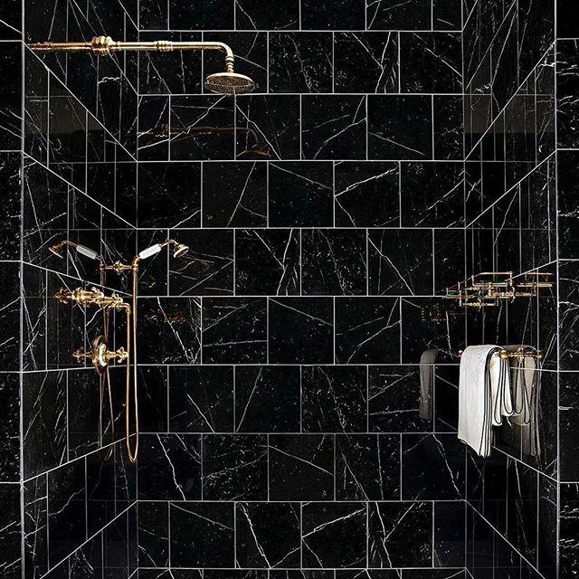 Bathroom Luxury with Gold accessories and Nero Marquina Marble. 📸 @wtrwrks . . . . #luxury #luxurylifestyle #design #bathroomdesign #designer #luxe #surfacetilessydney #nero #neromarquina #gold #goldaccessories #goldtaps #interiordesign #blackandgold #goldandblack #bathroomdecor #homedecor #tiling #tiles #marbletiles #marble
