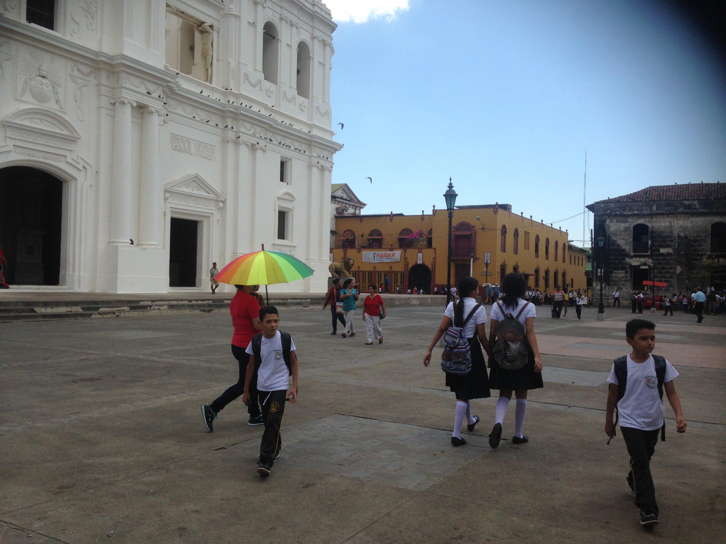 Mid-day scene in Leon, Nicaragua.