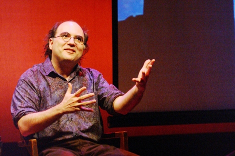 Josh Kornbluth performs one of his monologues. As part of his fellowship at GBHI, he is developing a one-man show on the subject of dementia.  Photo courtesy of Josh Kornbluth