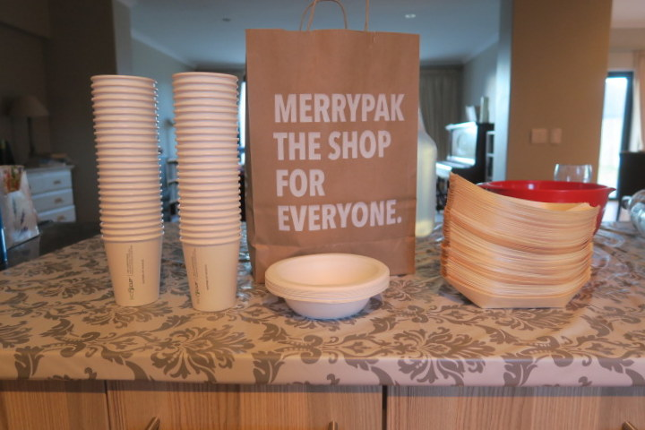 I got these banana boats (on the right), compostable coffee cups (and a few compostable soup bowls for good measure) from Merrypak in Ndabeni. If this looks like advertising, I should say that while they have some EXCELLENT green and waterwise stock, I was also shaken to discover just how many single-use items abound in the catering industry.