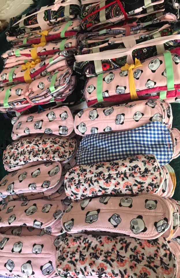 One hundred reusable pads headed off to a clinic in the Eastern Cape: the cores stuffed with waste fabric. Because this blog needs to start with something hopeful.