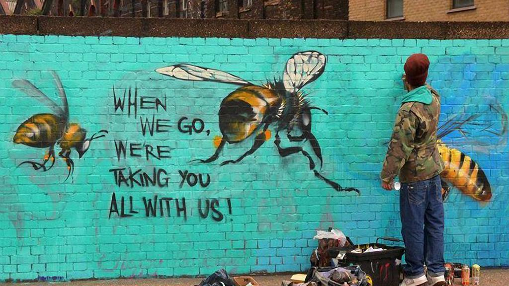 This art is by Louis Masai, of the #SaveOurBees campaign.  Source of image here .