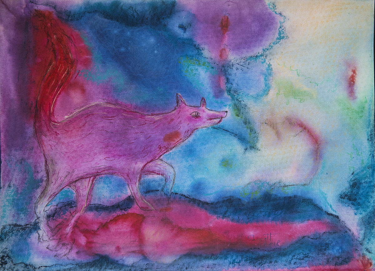 Title: 'Rape of Lucretia by the Wolf King's Son', 2018 Medium: Ink, pigment, and pastels on paper Size: 55 x 39 cm Location: Bruce Sherratt Gallery, Bali