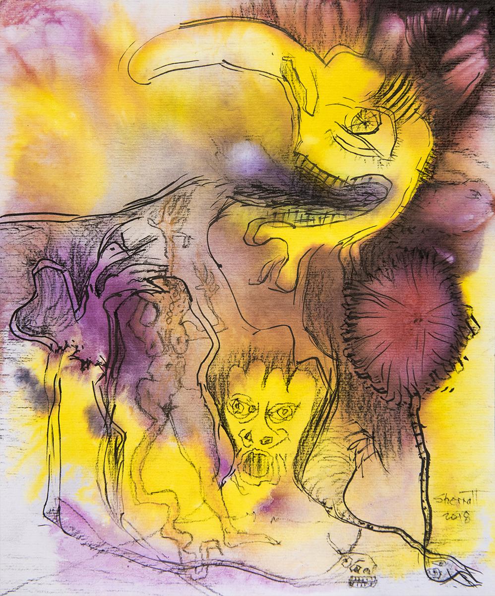 Title: 'Voluntary Sacrifice', 2018 Medium: Charcoal pencil, pigment, and pastels on paper Size: 35 x 40 cm Location: Bruce Sherratt Gallery, Bali