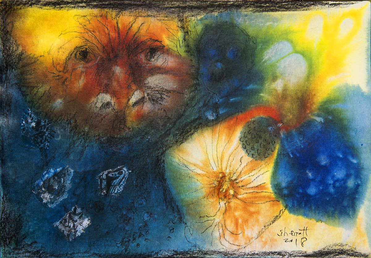 Title: 'Refusal to Choose II', 2018 Medium: Charcoal pencil, pigment, and pastels on paper Size: 35 x 40 cm Location: Bruce Sherratt Gallery, Bali