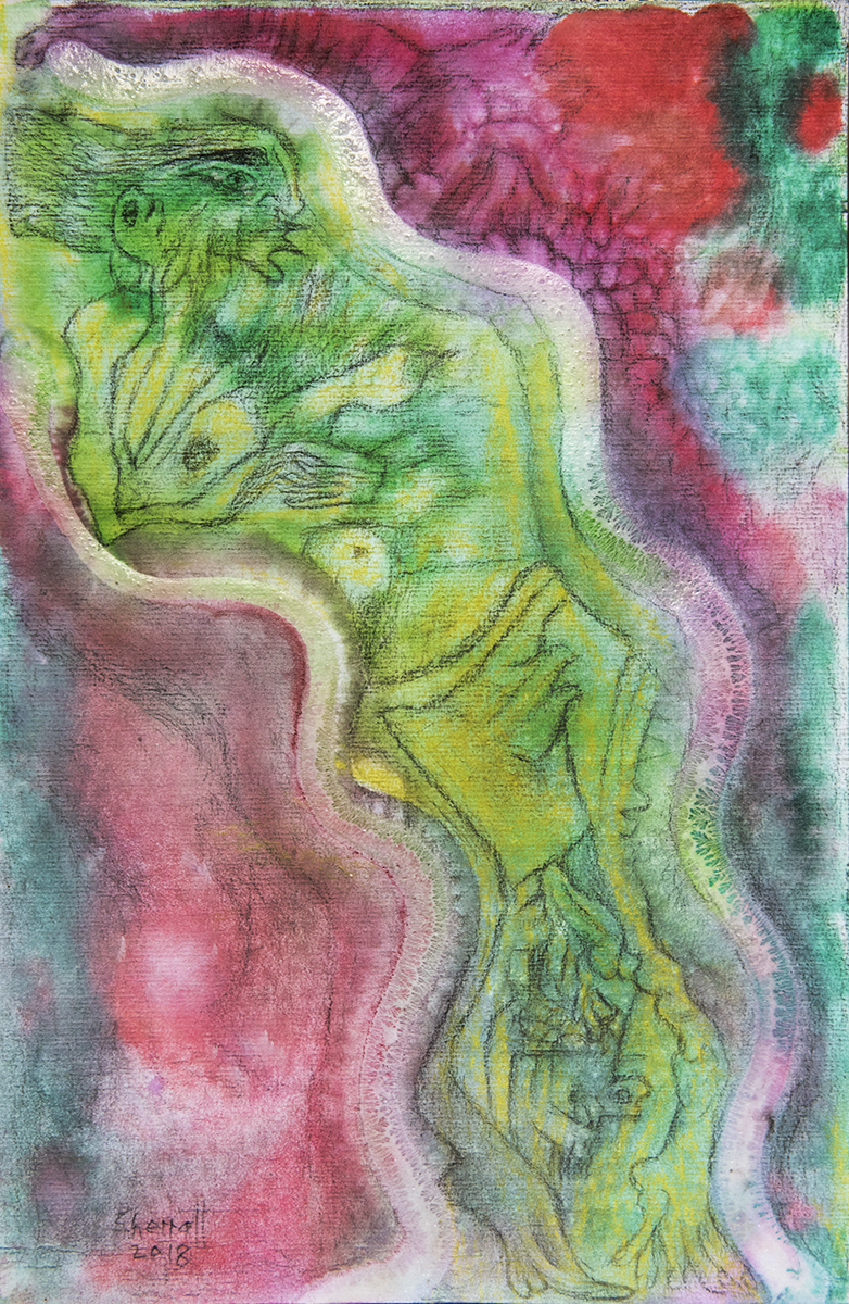Title: 'Transitional Space', 2018 Medium: Charcoal pencil, pigment, and pastels on paper Size: 27 x 41 cm Location: Bruce Sherratt Gallery, Bali