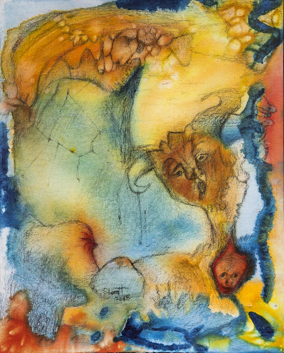 Title: 'Feeding Regression', 2018 Medium: Charcoal pencil, pigment, and pastels on paper Size: 34 x 42 cm Location: Bruce Sherratt Gallery, Bali