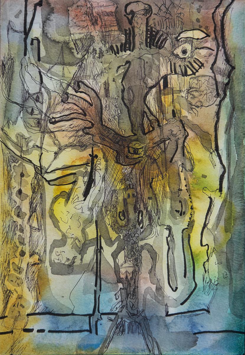 Title: 'Psychic Masochism', 2017 Medium: Pen, ink, and pure pigment on paper Size: 20.5 x 29.5 cm Location: Bruce Sherratt Gallery, Bali