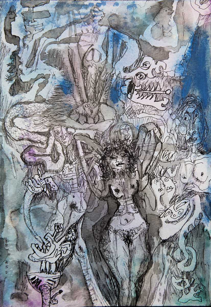 Title: 'Walking on Eggshells', 2017 Medium: Pen, ink, and pure pigment on paper Size: 20.5 x 29.5 cm Location: Bruce Sherratt Gallery, Bali