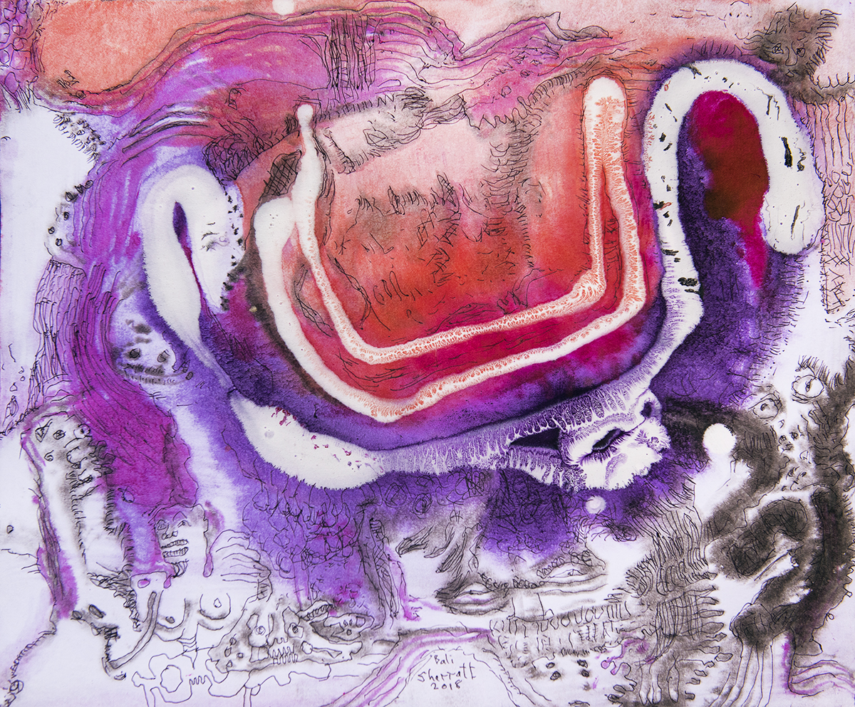 Title: 'The Disavowing Negation', 2018 Medium: Ink, pigment, and pastels on paper Size: 40 x 33 cm Location: Bruce Sherratt Gallery, Bali