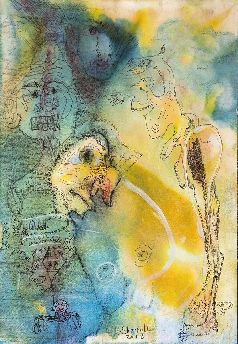 Title: 'Endless Misunderstandings', 2018 Medium: Ink, pigment, and pastels on paper Size: 27 x 39.5 cm Location: Bruce Sherratt Gallery, Bali