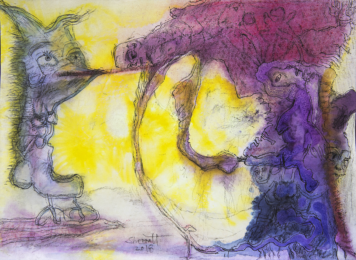Title: 'Mind, Spirit and Body', 2018 Medium: Charcoal pencil, ink, pigment, and pastels on paper Size: 54 x 39.5 cm Location: Bruce Sherratt Gallery, Bali