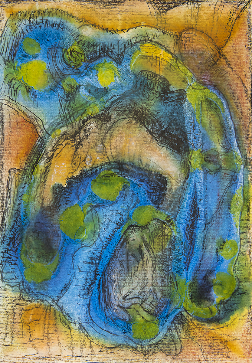 Title: 'Confabulated Seduction', 2018 Medium: Charcoal pencil, ink, pigment, and pastels on paper Size: 27.5 x 39.5 cm Location: Bruce Sherratt Gallery, Bali