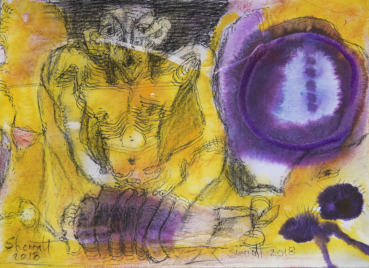 Title: 'Confabulated', 2018 Medium: Charcoal pencil, ink, pigment, and pastels on paper Size: 51 x 37 cm Location: Bruce Sherratt Gallery, Bali