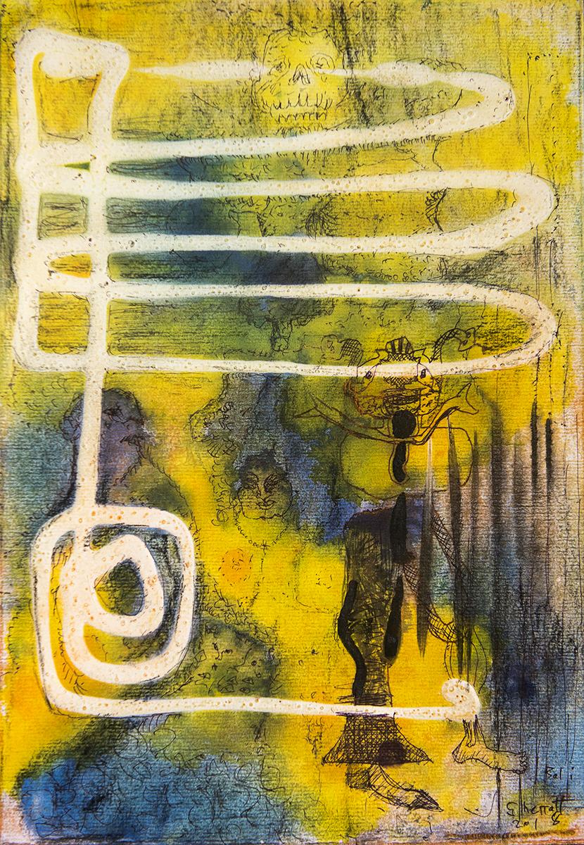 Title: 'Death Seduction', 2018 Medium: Ink, pigment, and pastels on paper Size: 28 x 40 cm Location: Bruce Sherratt Gallery, Bali