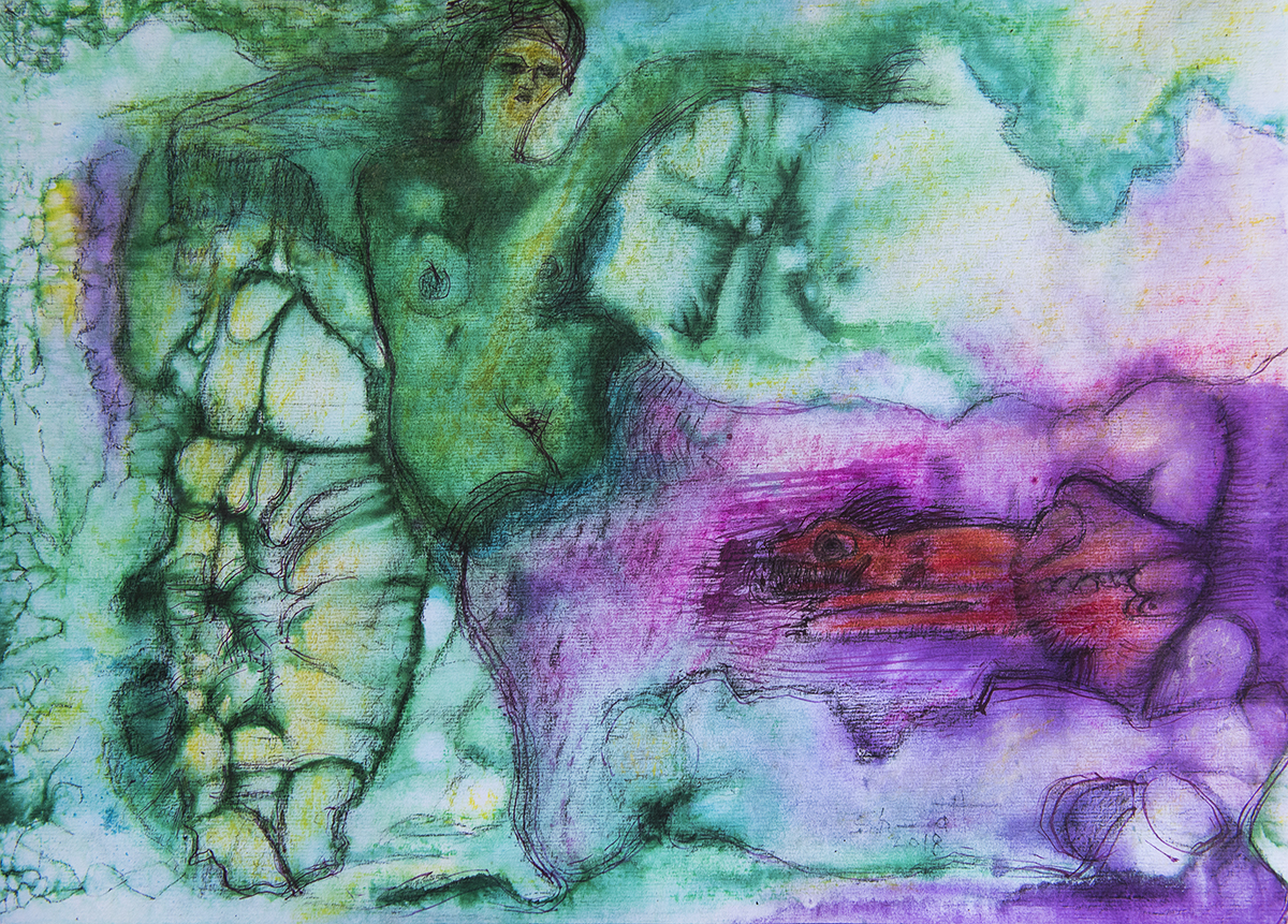 Title: 'Storming of The Vestal Virgin', 2018 Medium: Ink, pigment, and pastels on paper Size: 54 x 38.5 cm Location: Bruce Sherratt Gallery, Bali