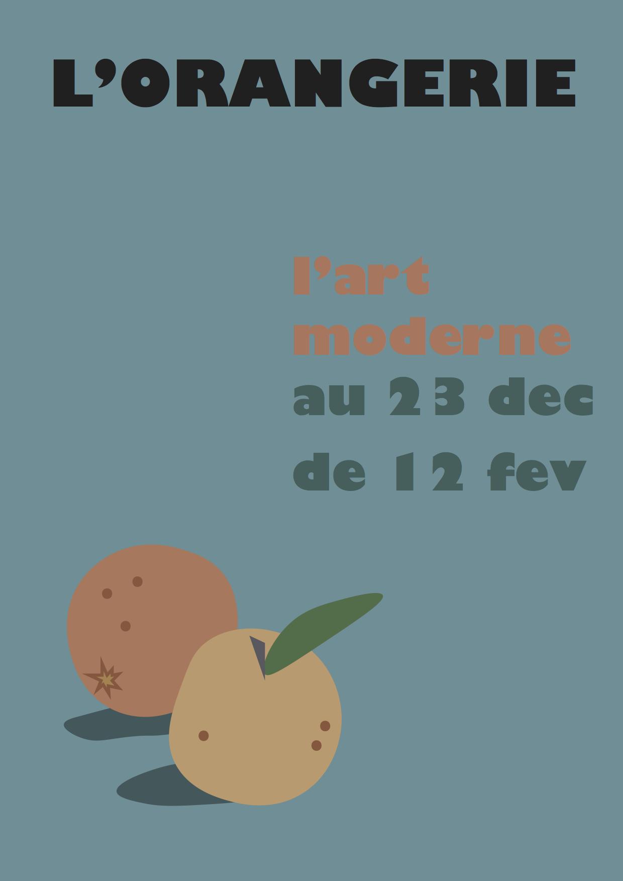 Mock installation flyer for L'Orangerie