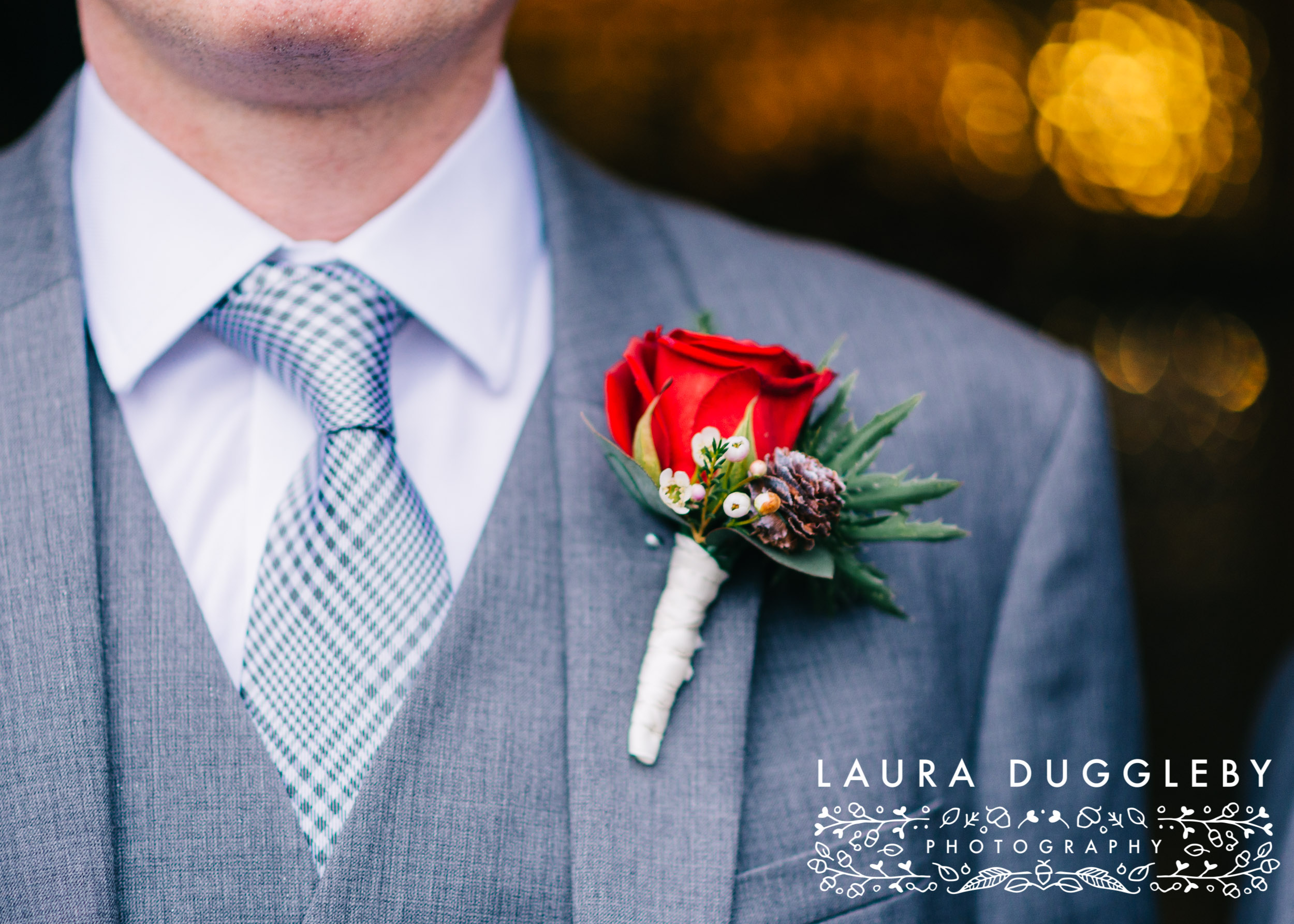 Shireburn Arms Wedding Buttonhole Detail For Groom