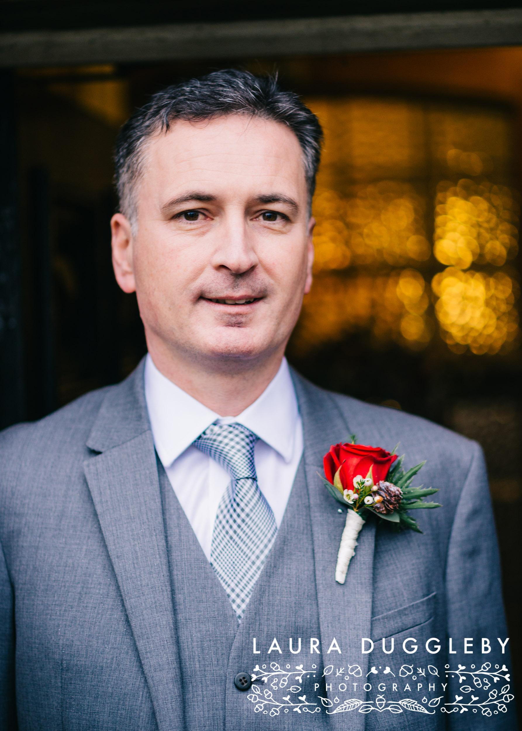 Groom Portrait Outside Shireburn Arms On Wedding Day
