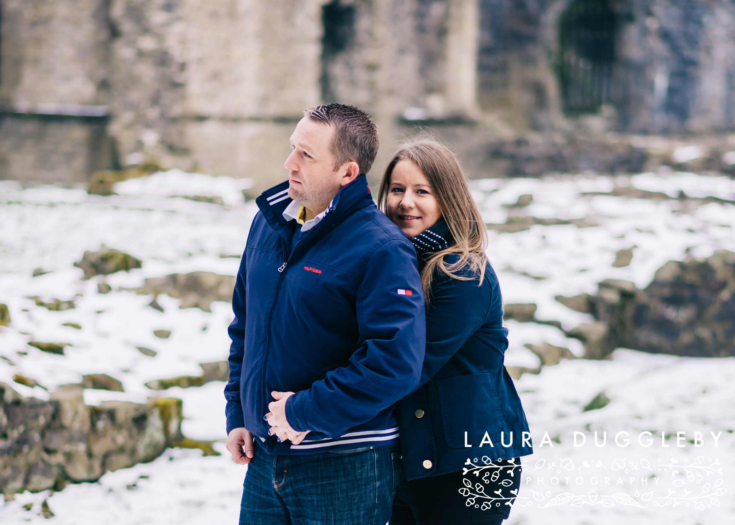 whalley abbey engagement shoot in the snow