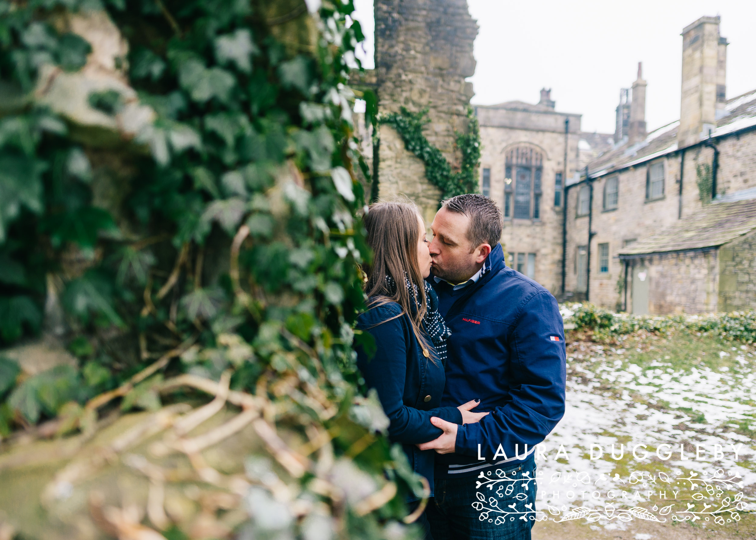 snowy whalley abbey engagement shoot in the ribble valley