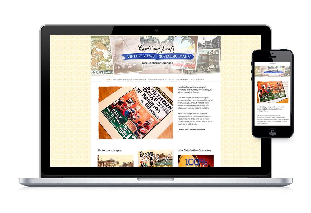 Desktop and mobile web homepage design for Vintage Pics, cards and prints online shop.