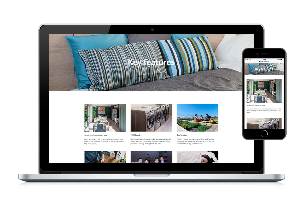 Desktop and mobile web page design for Farrier House Student Living