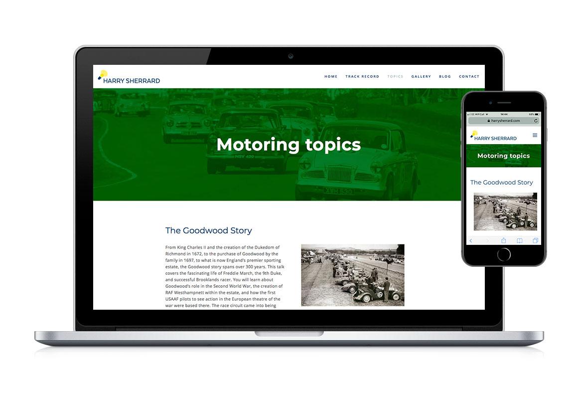 Desktop and mobile web page design for Harry Sherrard, public speaker