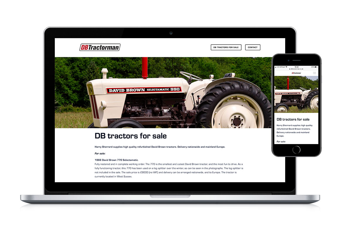 Website design for DB Tractorman based in West Sussex showcasing restored David Brown tractors for sale.