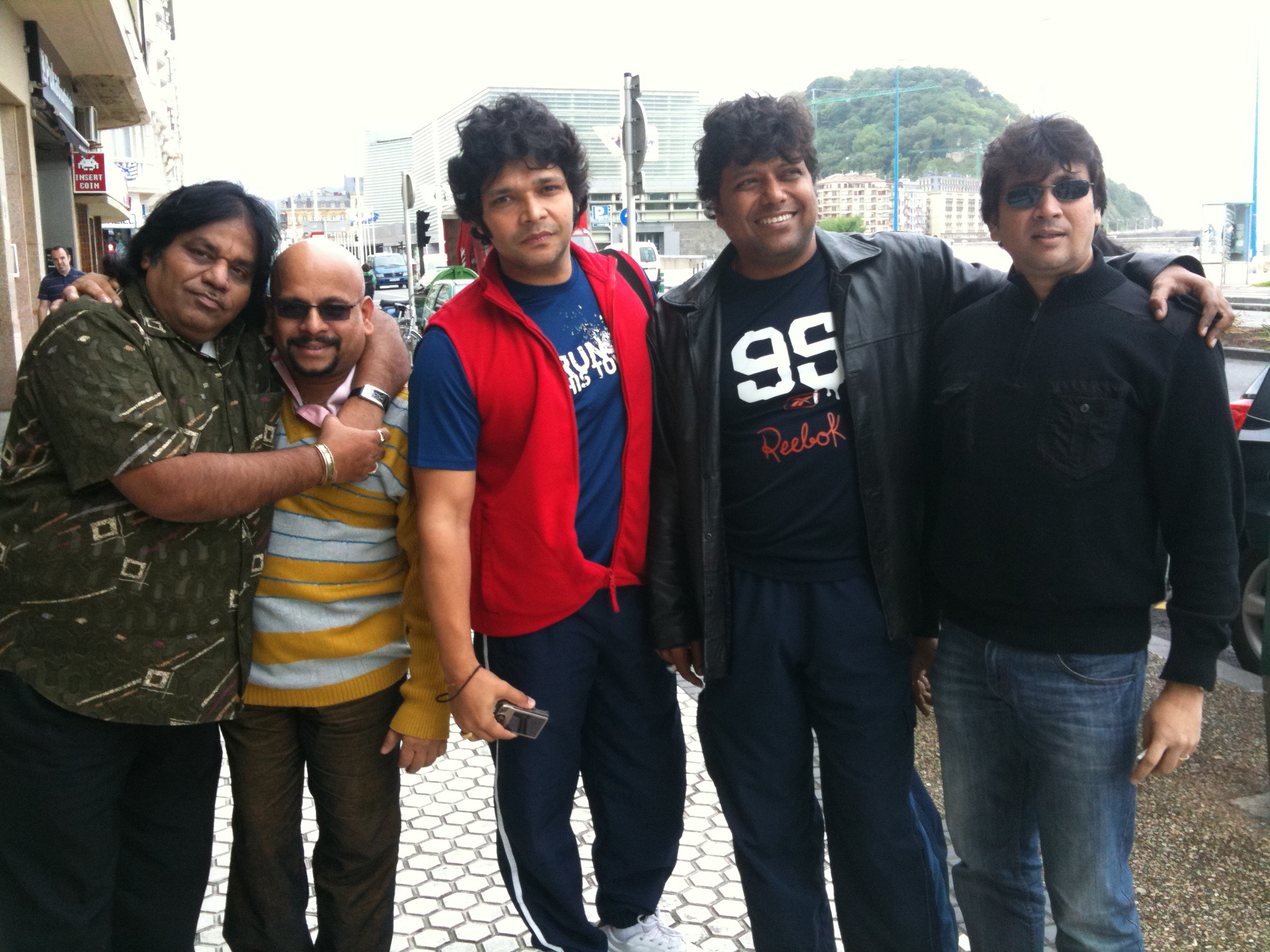 """The Sacred Drums of India"" (tour in Spain with Igor) … from left to right: Suresh Vidyanathan (gatam), Rakesh Chaurasia (bansuri flute), Shubankhar Banerjee (tabla) Gopal Barman (srikhol)"